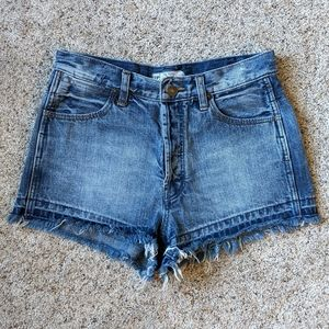 Free People Cut Off Denim Shorts Button Fly